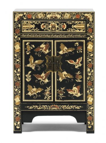 Decorated Black Small Cabinet